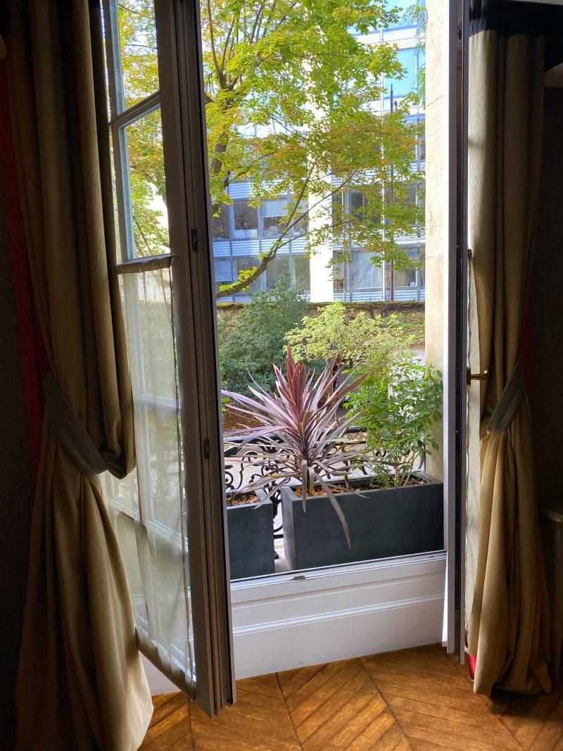 Window in hotel room at Saint James Paris