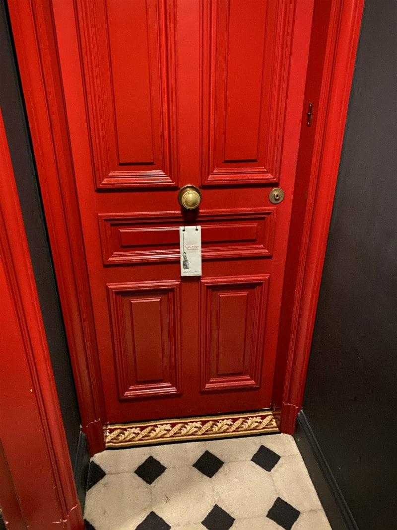 Door to hotel room at Saint James Paris