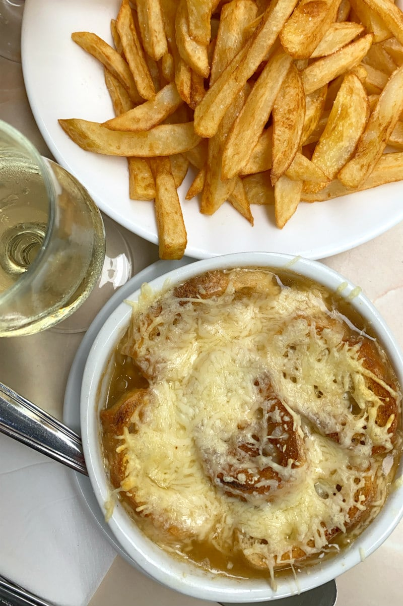 French Onion Soup and French fries in Paris