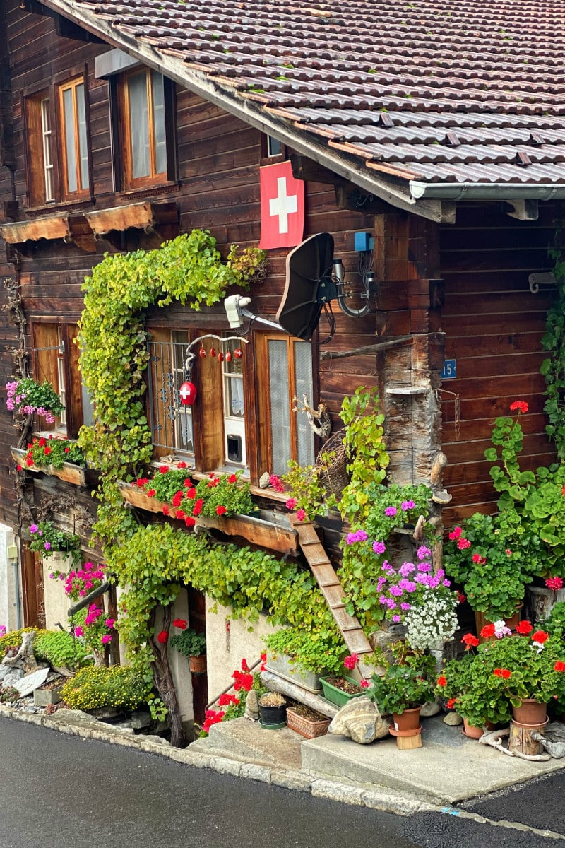 house in Brienz, Switzerland with greenery and flowers growing on it and displayed around it