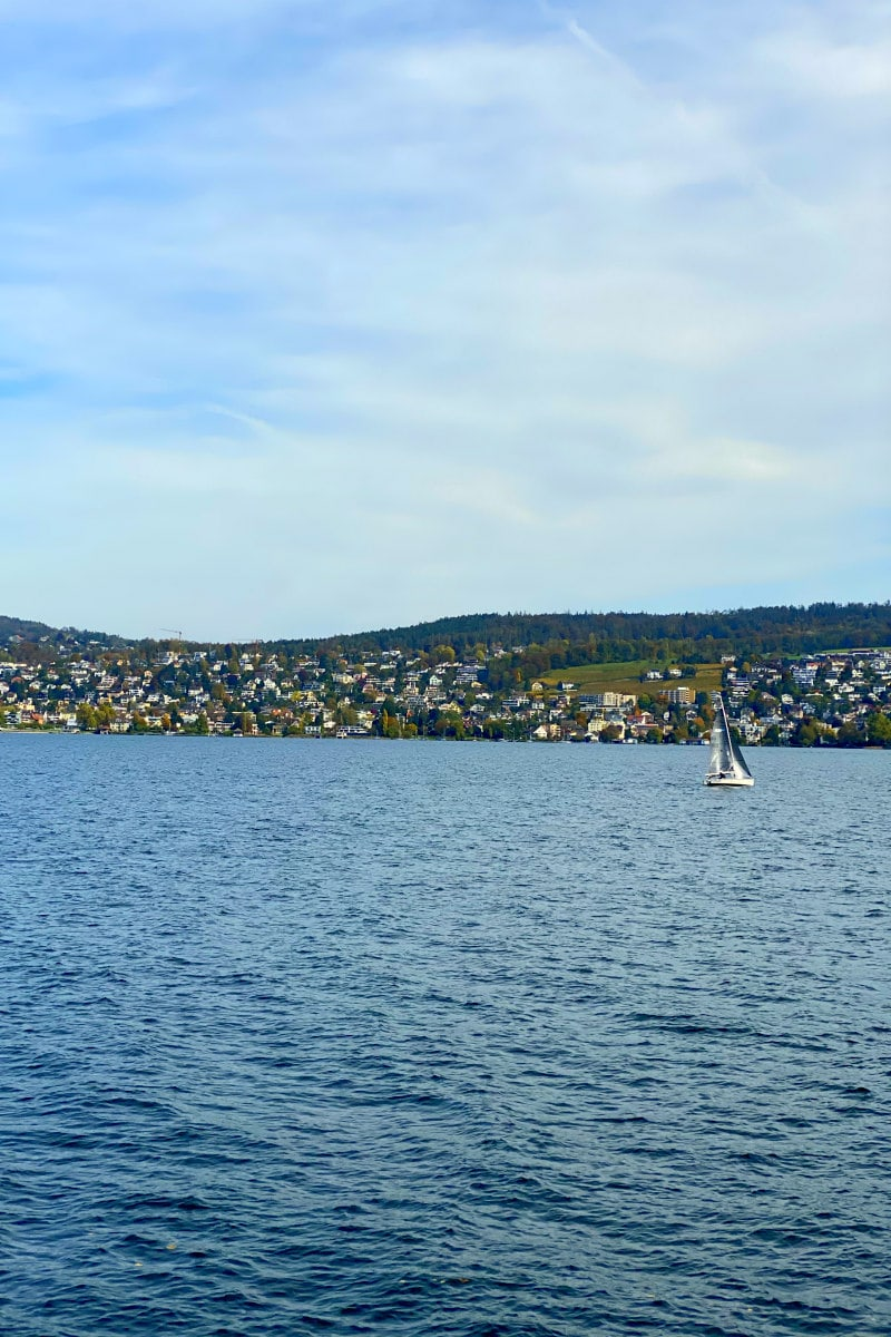 Lake Zurich with a sailboat in view