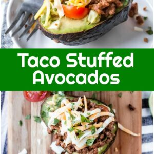 pinterest collage image for taco stuffed avocados
