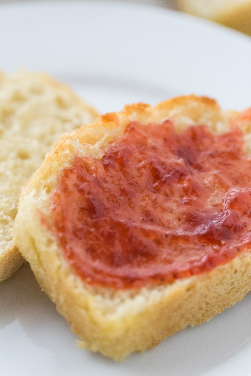 Slices of Toasted English Muffin Bread with Jam