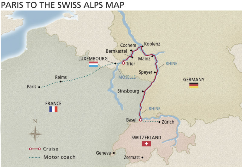 Viking River Cruises map of Paris to Swiss Alps