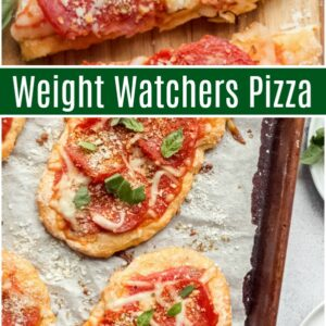 Pinterest collage image for weight watchers pizza