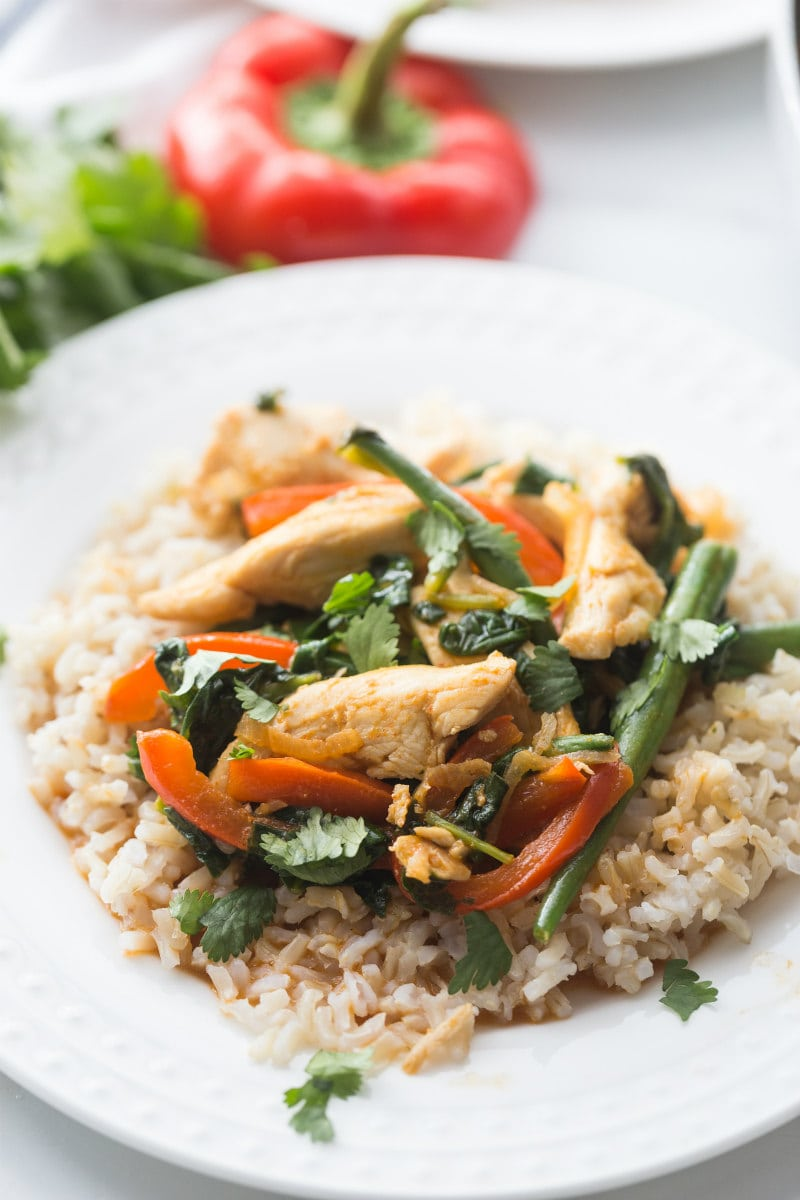 plate of thai curry chicken