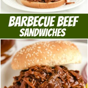 pinterest collage image for barbecue beef sandwiches