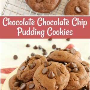 pinterest collage image for chocolate chocolate chip pudding cookies