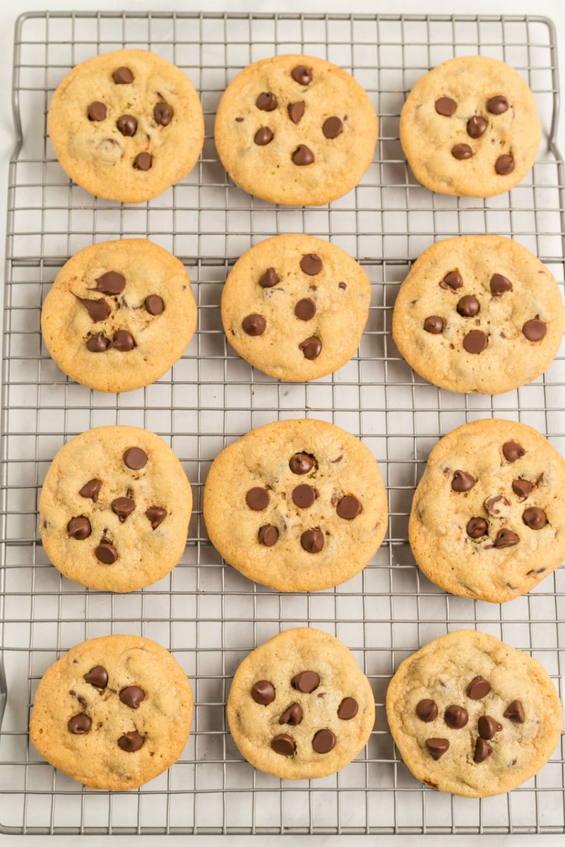 overhead shot of one dozen chocolate chip cookies on a cooling rack
