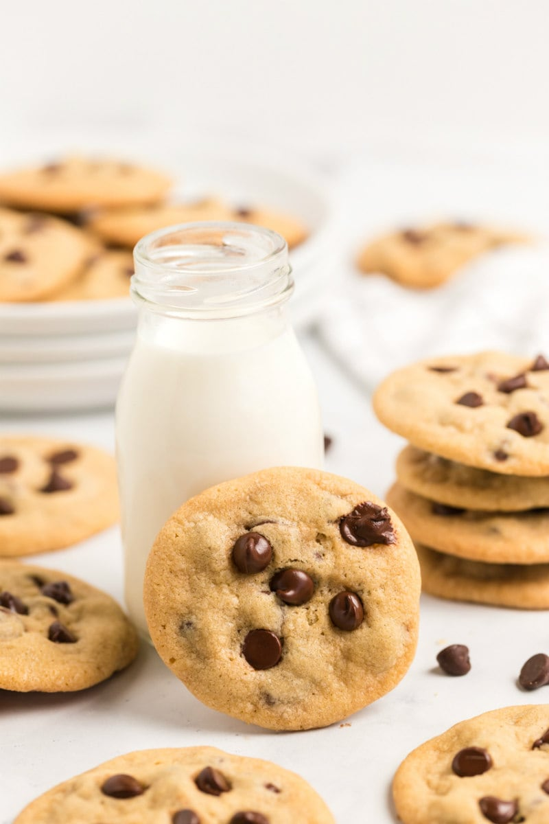 a glass of milk surrounded by chocolate chip cookies