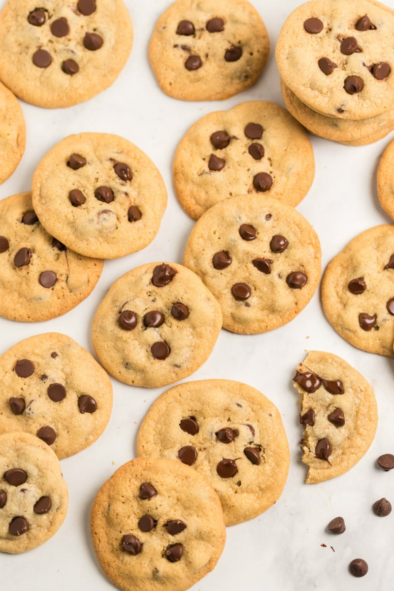 overhead shot of a lot of chocolate chip cookies