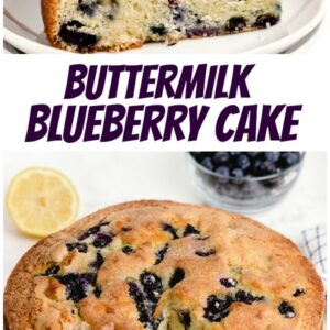 pinterest collage image for buttermilk blueberry cake