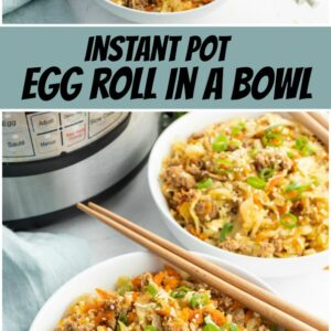 pinterest collage image for egg roll in a bowl