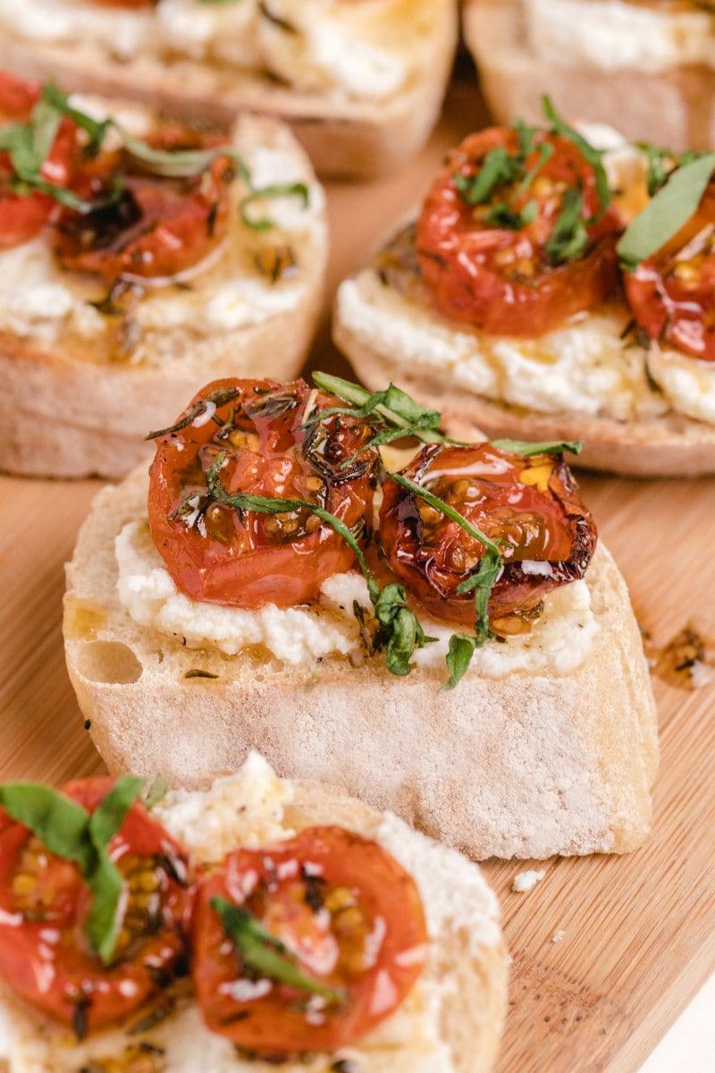 pieces of honey tomato bruschetta