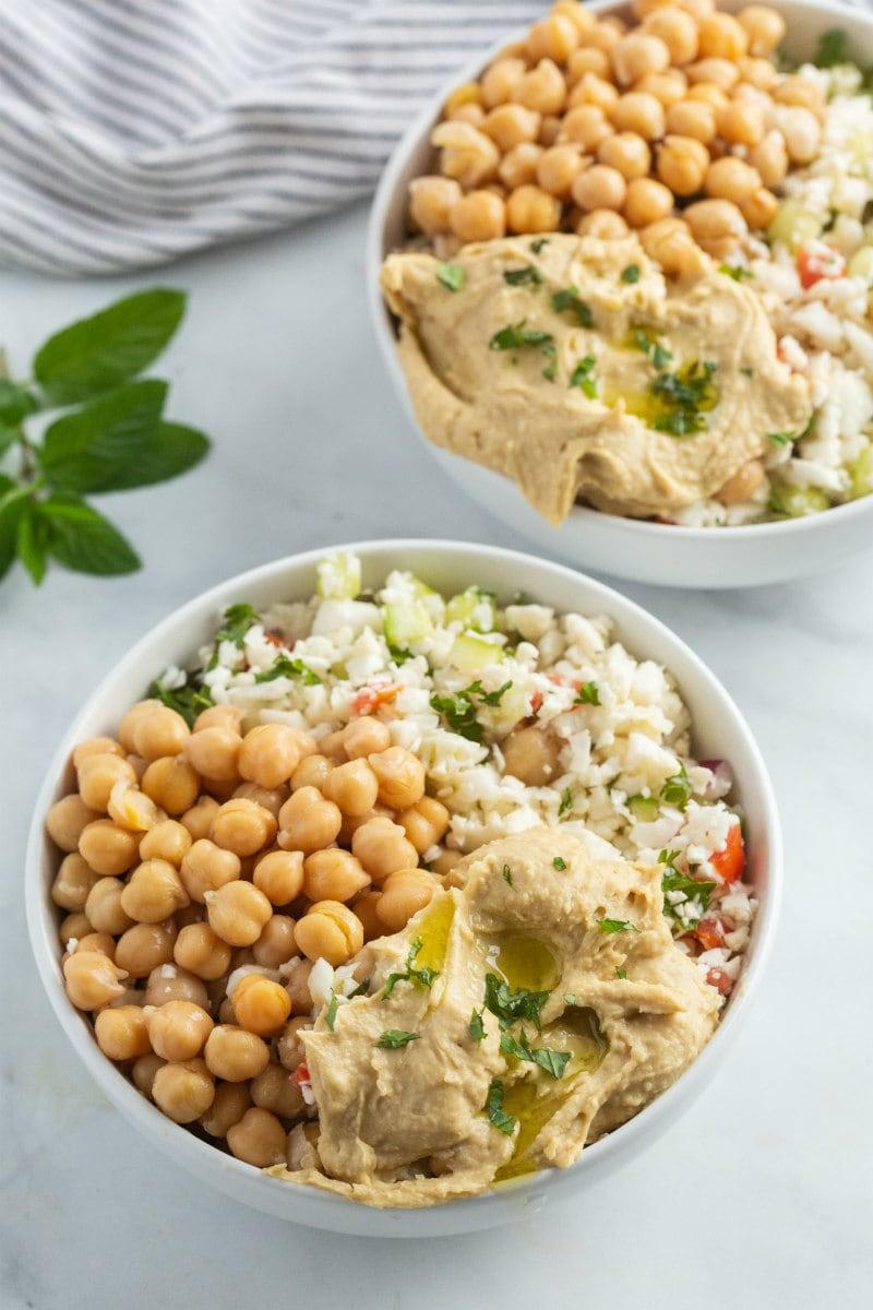 Two Cauliflower Tabbouleh Bowls