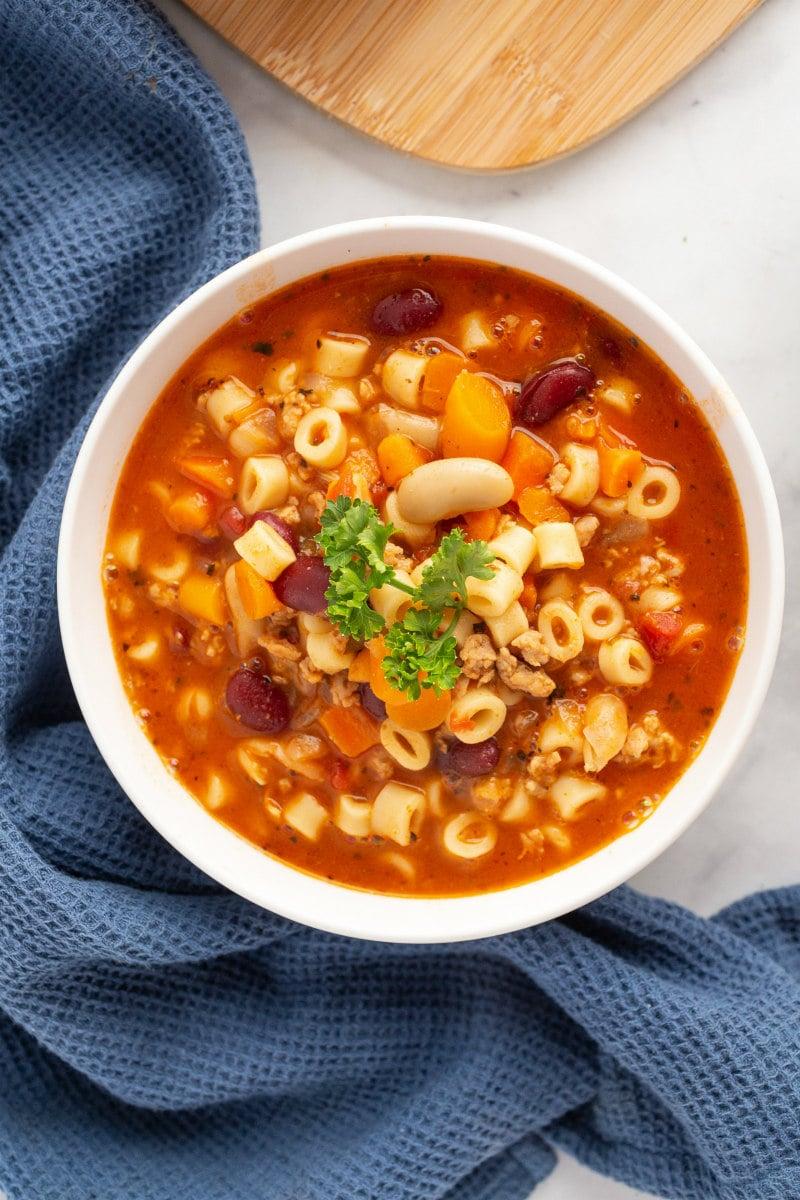 Pasta e Fagioli Soup in white bowl