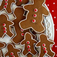 gingerbread cookies on a white platter