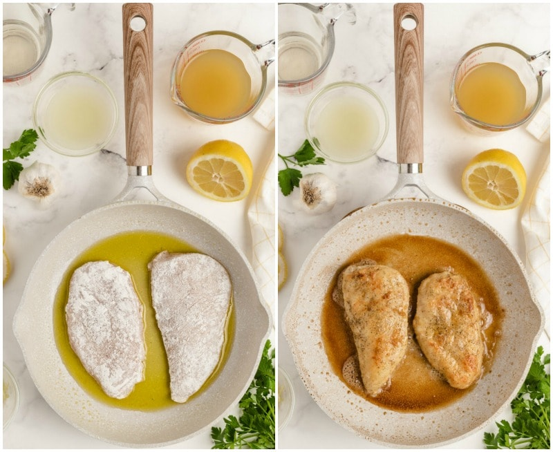 two pans showing process of making chicken piccata- sauteing and then done