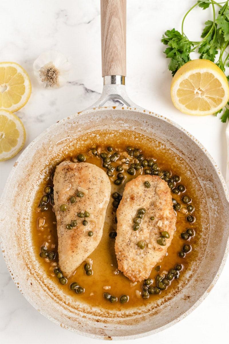 chicken piccata in skillet