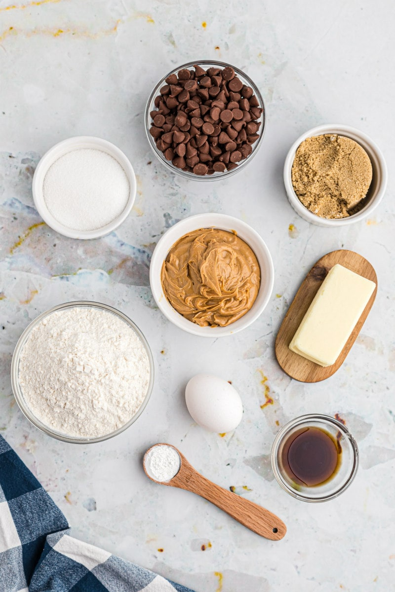 ingredients displayed for peanut butter cookies