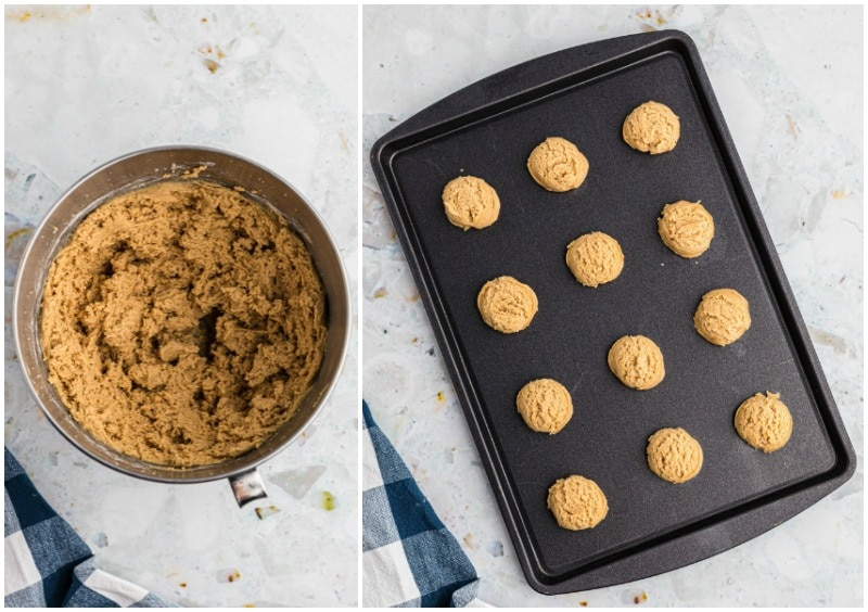 peanut butter cookie dough in bowl and cookie dough scooped onto baking sheet