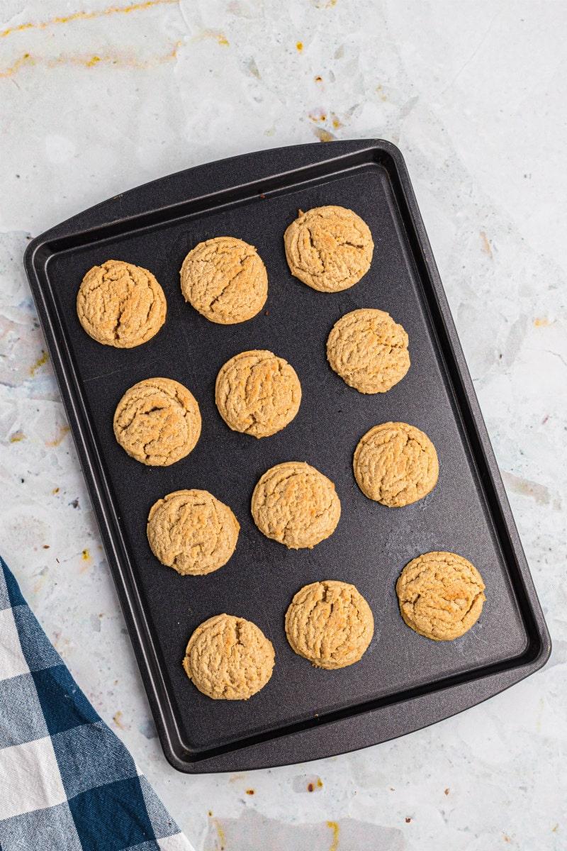 peanut butter cookies on baking sheet