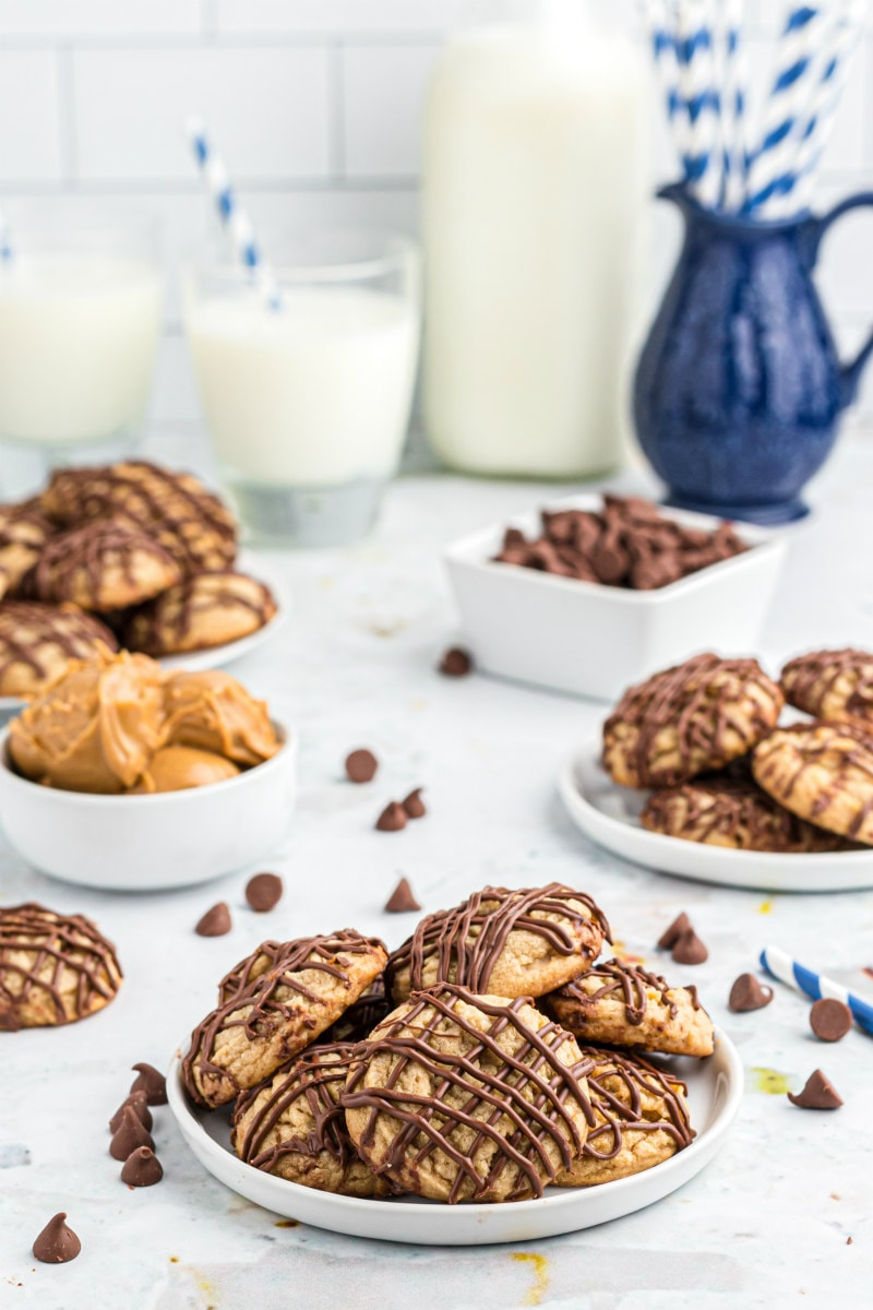 chocolate drizzled peanut butter cookies displayed on plates
