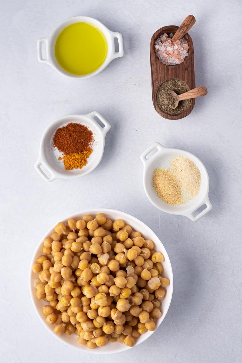 ingredients displayed for making air fryer chickpeas