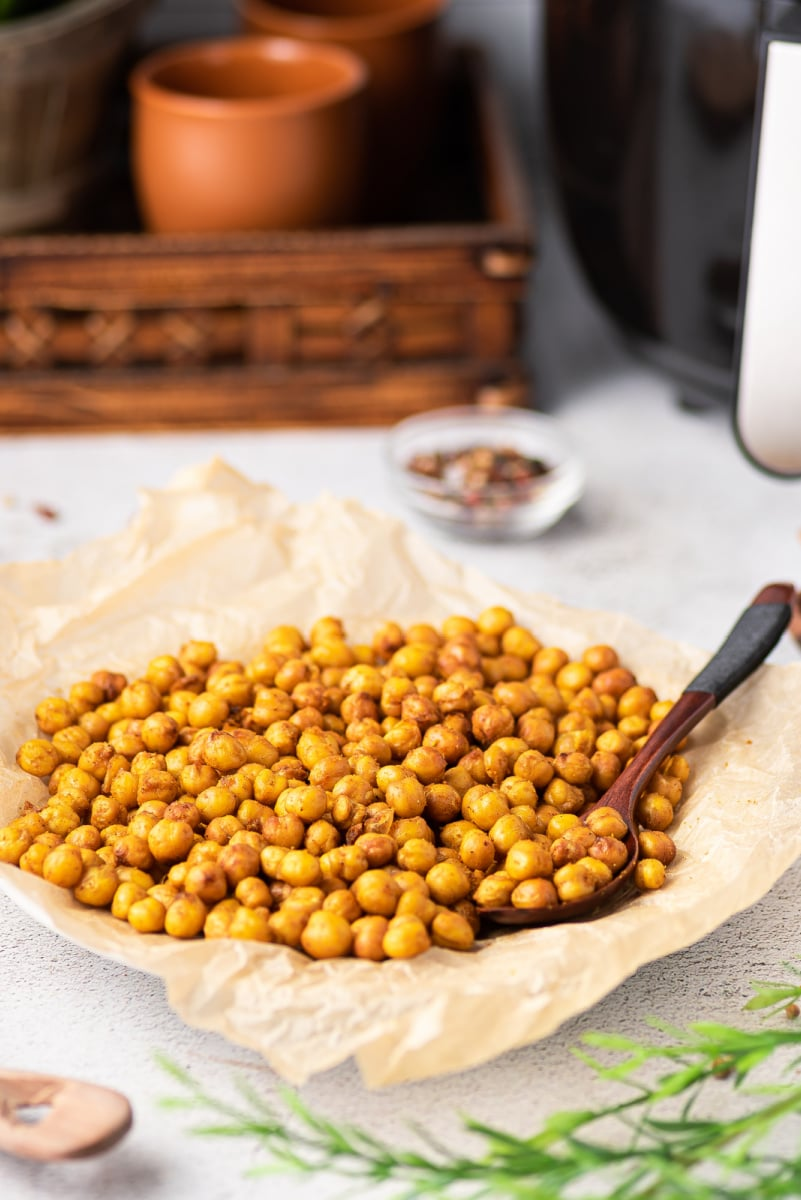 crispy chickpeas in a bowl with a spoon
