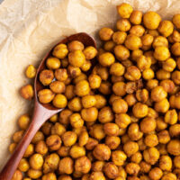 spicy air fryer chickpeas with a spoon