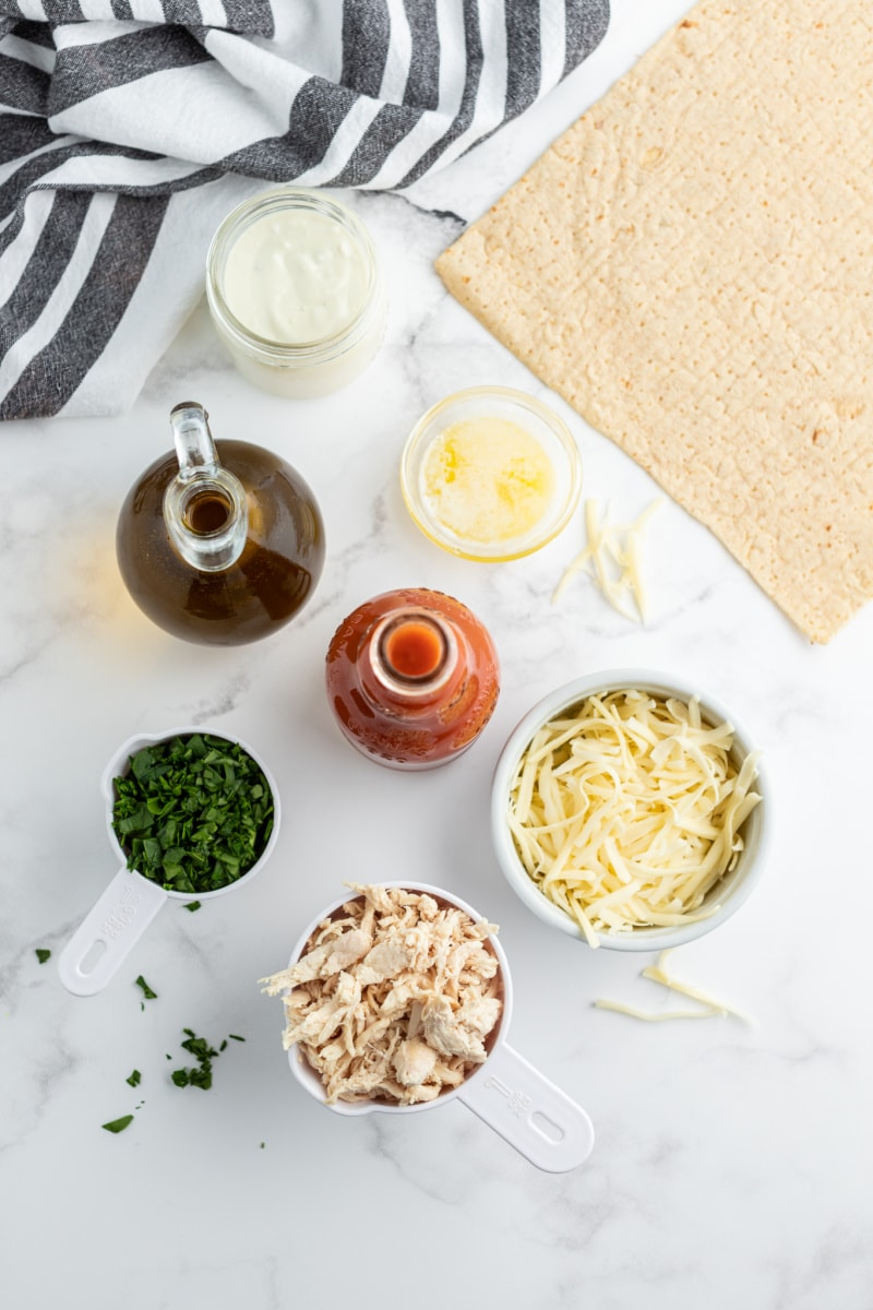 ingredients displayed for buffalo chicken flatbread