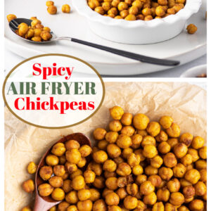 pinterest collage image for air fryer chickpeas