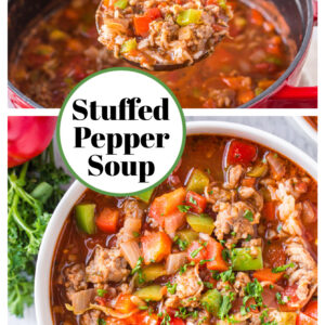 pinterest collage image for stuffed pepper soup