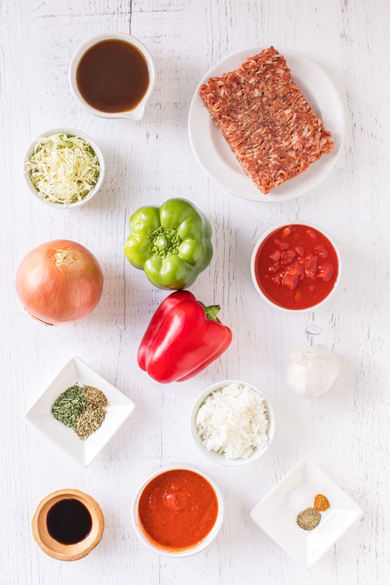 ingredients displayed for stuffed pepper soup