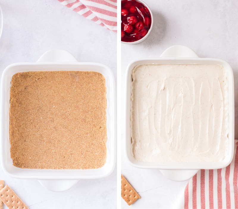 two photos showing crust and filling in pan for cheesecake bars
