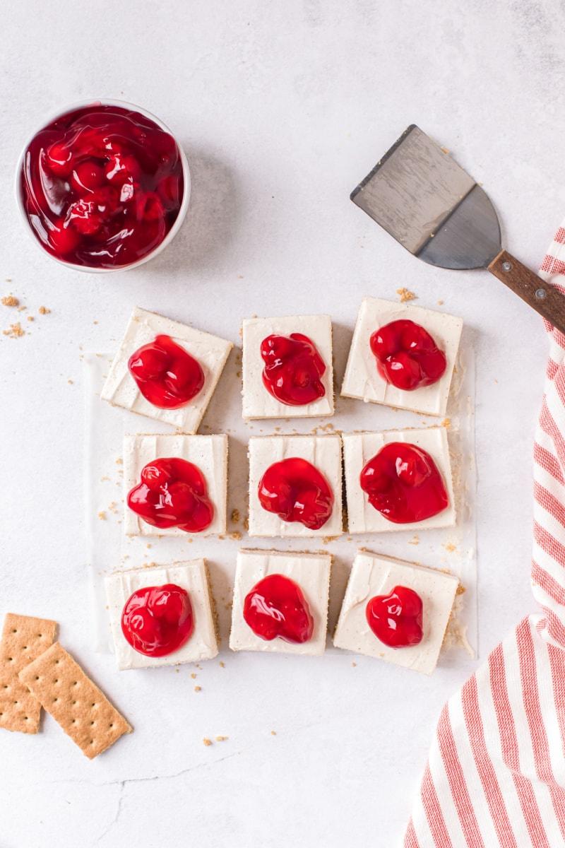 overhead shot of cherry cheesecake bars