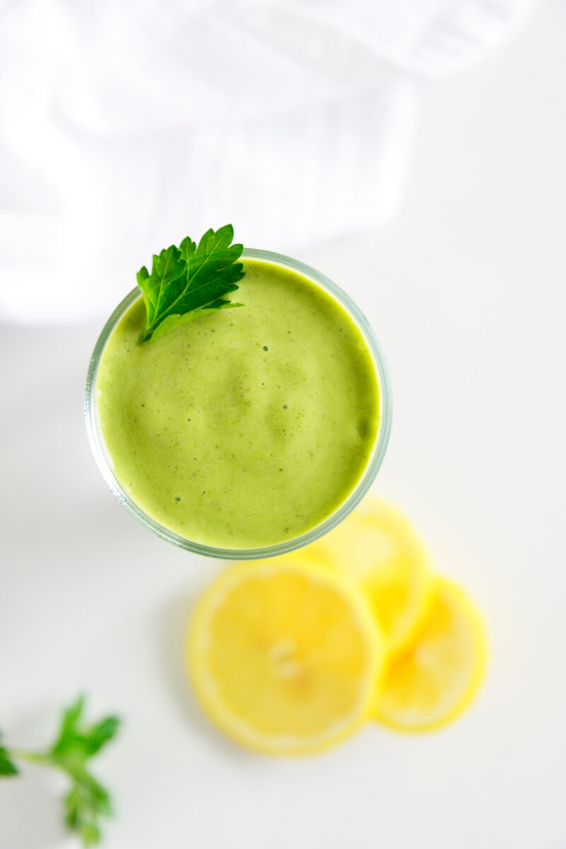 overhead shot of green smoothie