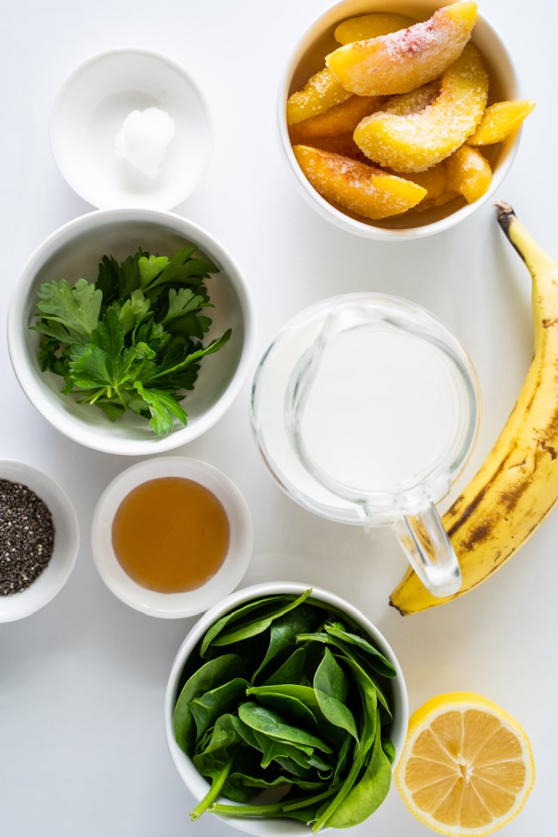 ingredients displayed for making a detox green smoothie