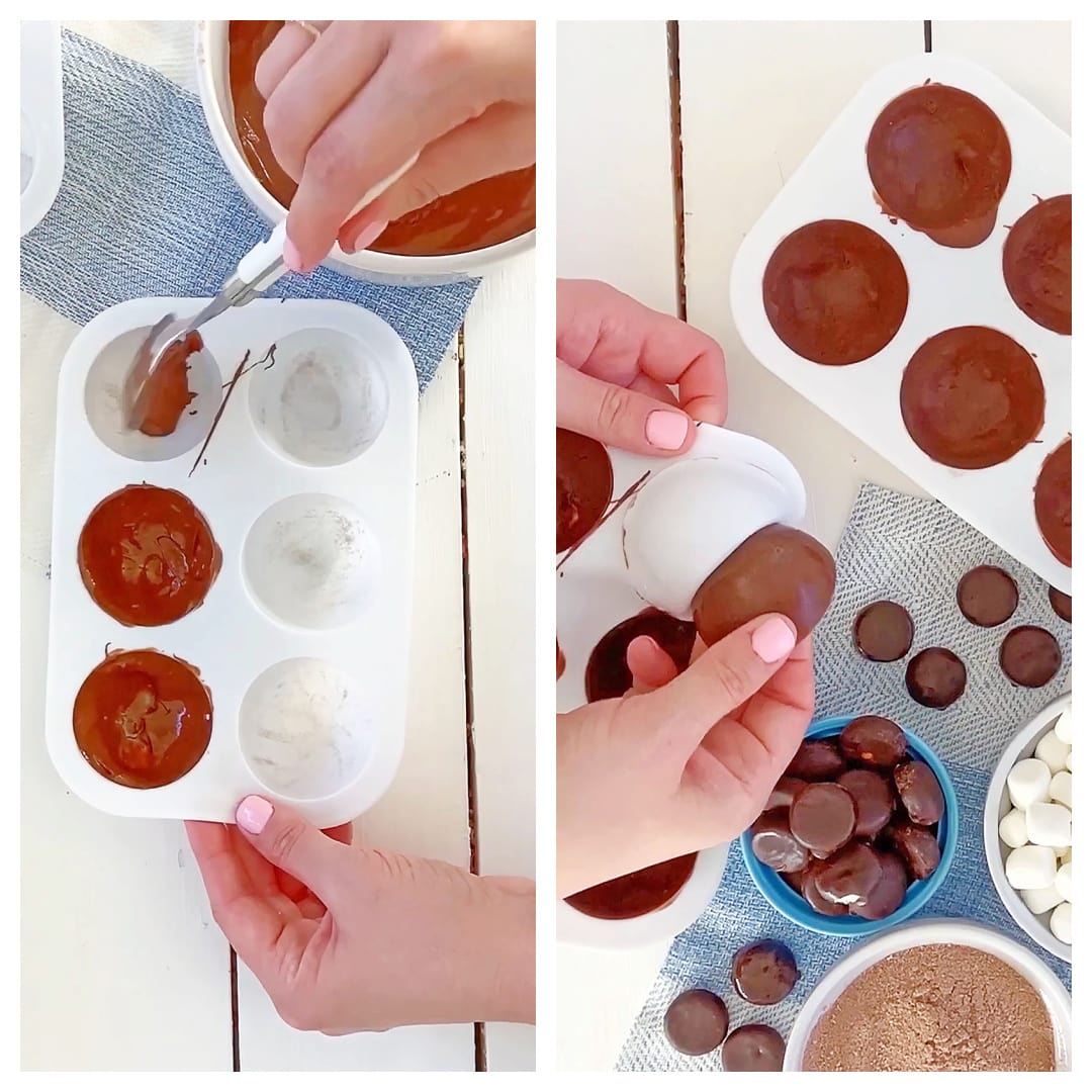 brushing chocolate into candy molds