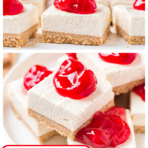 pinterest collage image for no bake cherry cheesecake bars