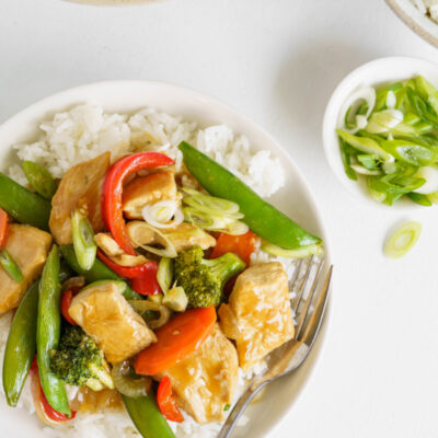 stir fry on a white plate with rice