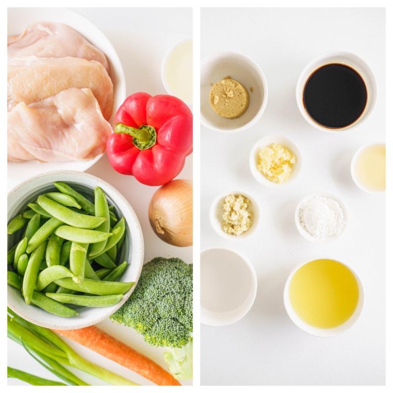 ingredients displayed for teriyaki chicken stir fry
