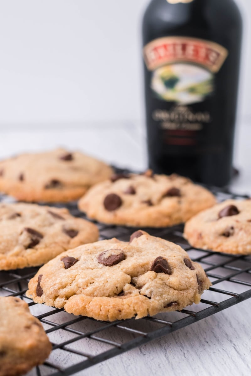 Baileys chocolate chip cookies on a cooling rack