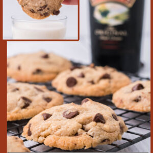 Pinterest collage image for Baileys chocolate chip cookies