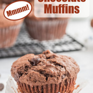 Pinterest image for chocolate muffins