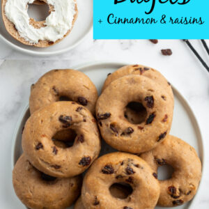 2 Ingredient Cinnamon Raisin Bagels Pinterest Collage Image