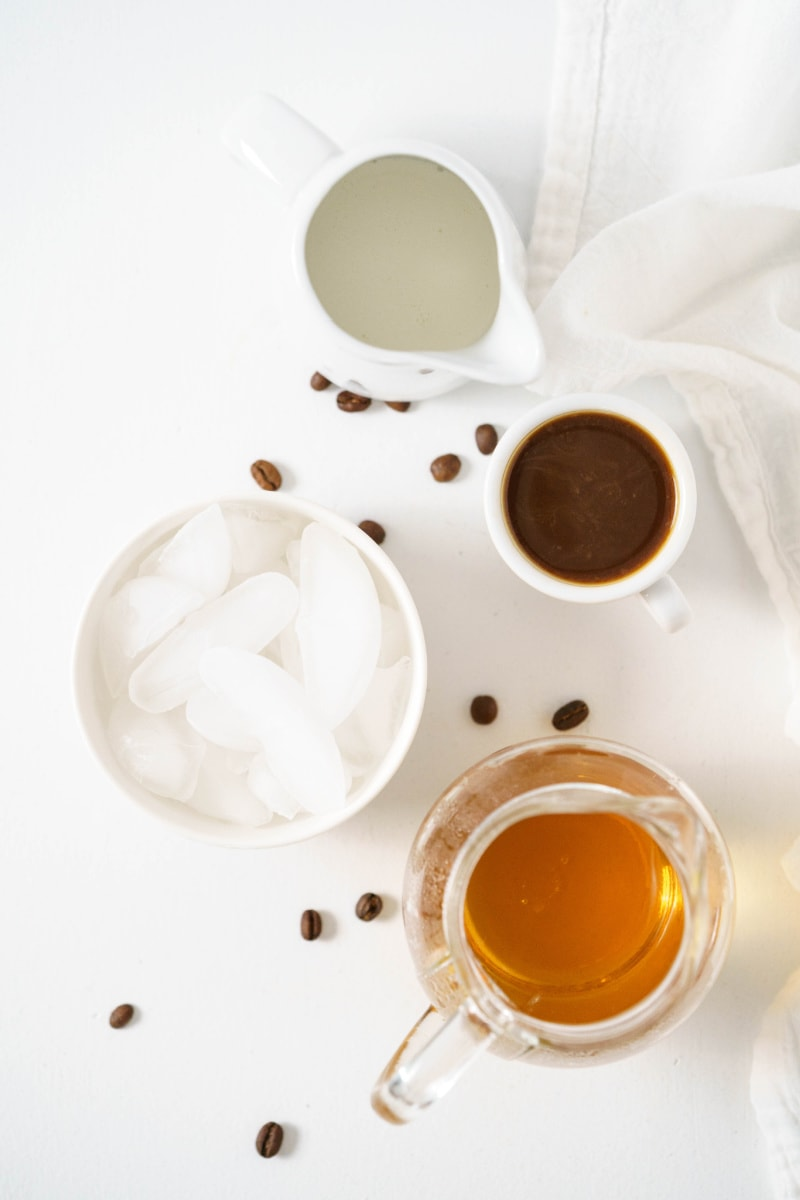 displayed ingredients for making iced vanilla latte
