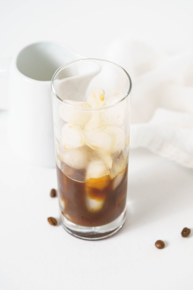 coffee on ice in glass