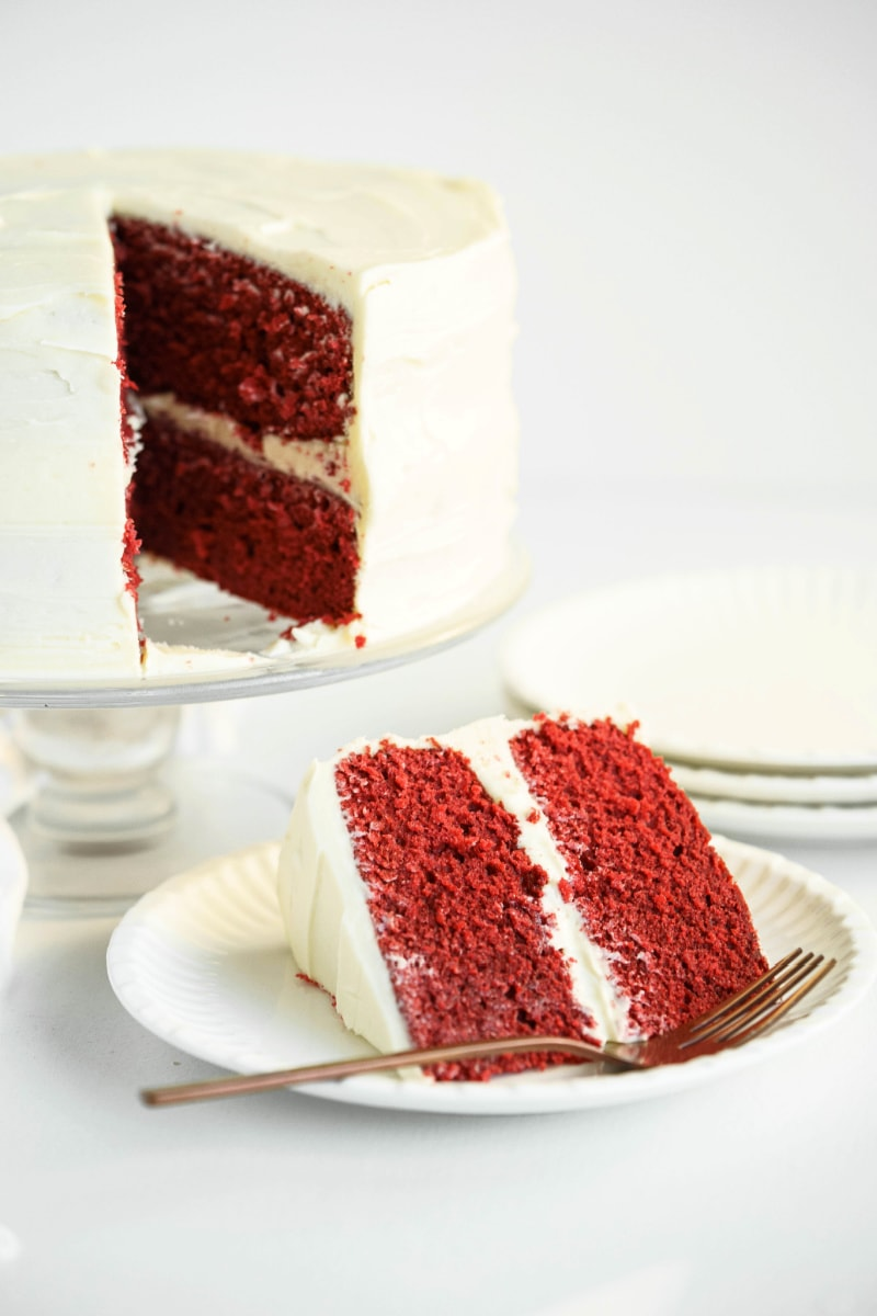 red velvet cake cut into and slice on plate