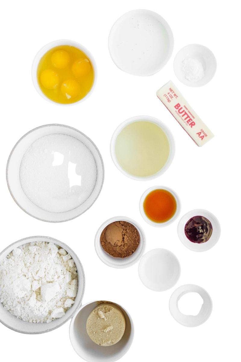 ingredients for red velvet caek